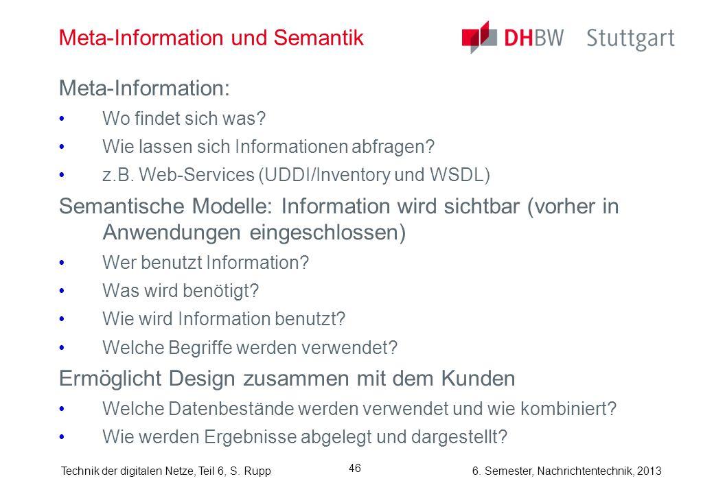 6. Semester, Nachrichtentechnik, 2013Technik der digitalen Netze, Teil 6, S. Rupp 46 Meta-Information und Semantik Meta-Information: Wo findet sich wa