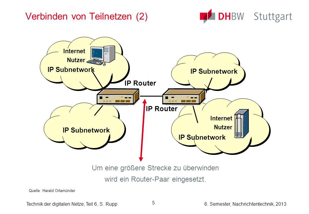6. Semester, Nachrichtentechnik, 2013Technik der digitalen Netze, Teil 6, S. Rupp 5 Verbinden von Teilnetzen (2) Um eine größere Strecke zu überwinden
