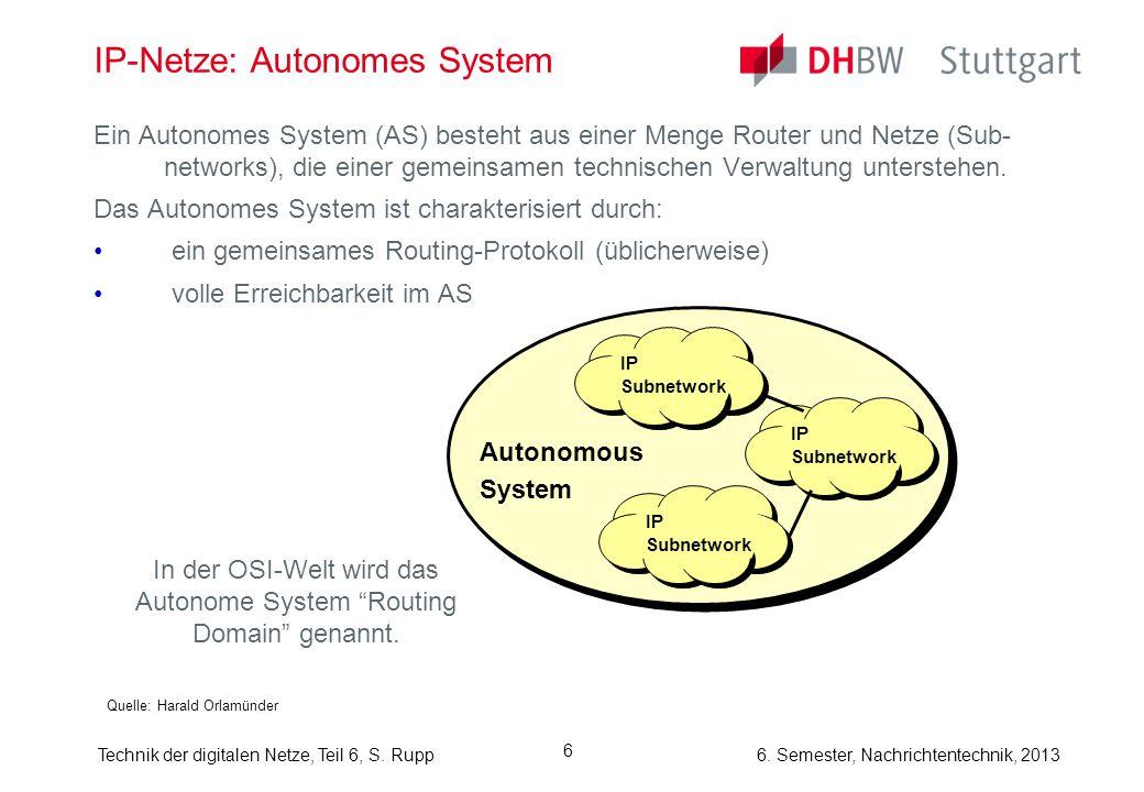 6. Semester, Nachrichtentechnik, 2013Technik der digitalen Netze, Teil 6, S. Rupp 6 IP-Netze: Autonomes System Ein Autonomes System (AS) besteht aus e