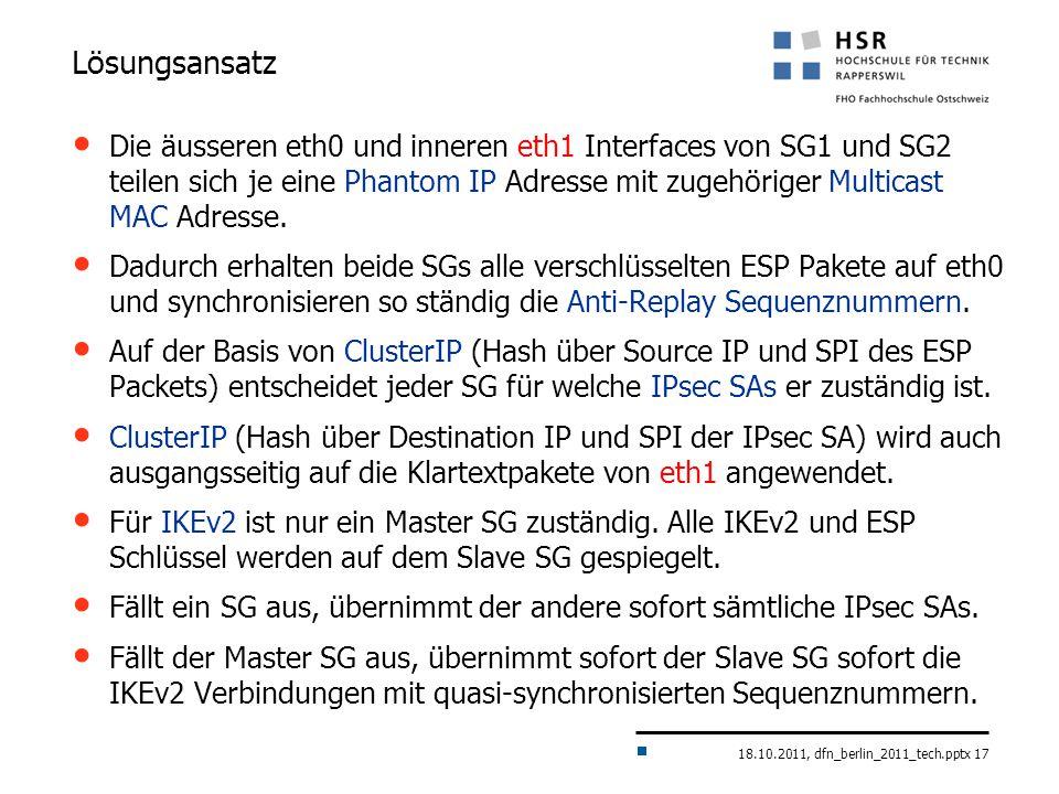 18.10.2011, dfn_berlin_2011_tech.pptx 17 Lösungsansatz Die äusseren eth0 und inneren eth1 Interfaces von SG1 und SG2 teilen sich je eine Phantom IP Adresse mit zugehöriger Multicast MAC Adresse.