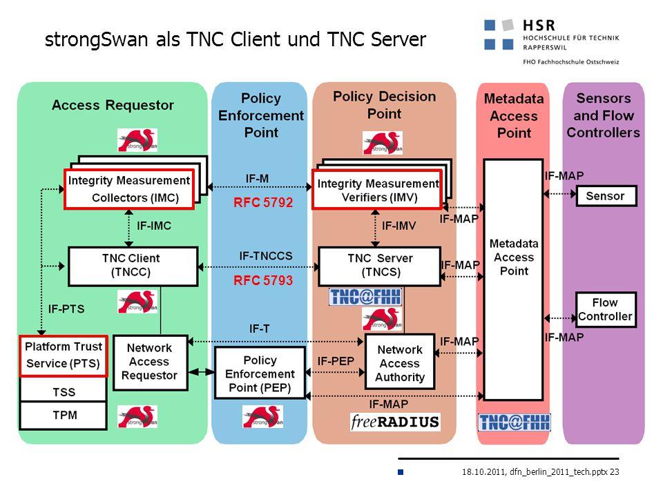 18.10.2011, dfn_berlin_2011_tech.pptx 23 strongSwan als TNC Client und TNC Server RFC 5793 RFC 5792