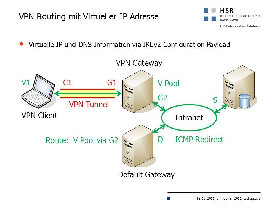 18.10.2011, dfn_berlin_2011_tech.pptx 9 VPN Routing mit Virtueller IP Adresse VPN Gateway Intranet VPN Client G1C1 S Default Gateway G2 D VPN Tunnel I