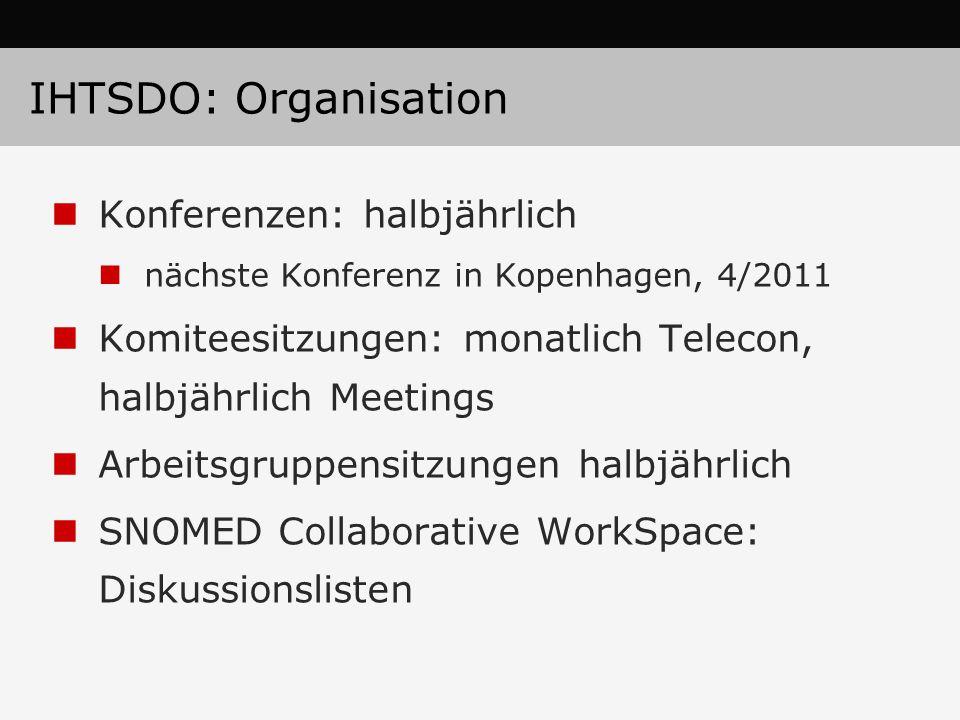 IHTSDO: Organisation Konferenzen: halbjährlich nächste Konferenz in Kopenhagen, 4/2011 Komiteesitzungen: monatlich Telecon, halbjährlich Meetings Arbeitsgruppensitzungen halbjährlich SNOMED Collaborative WorkSpace: Diskussionslisten