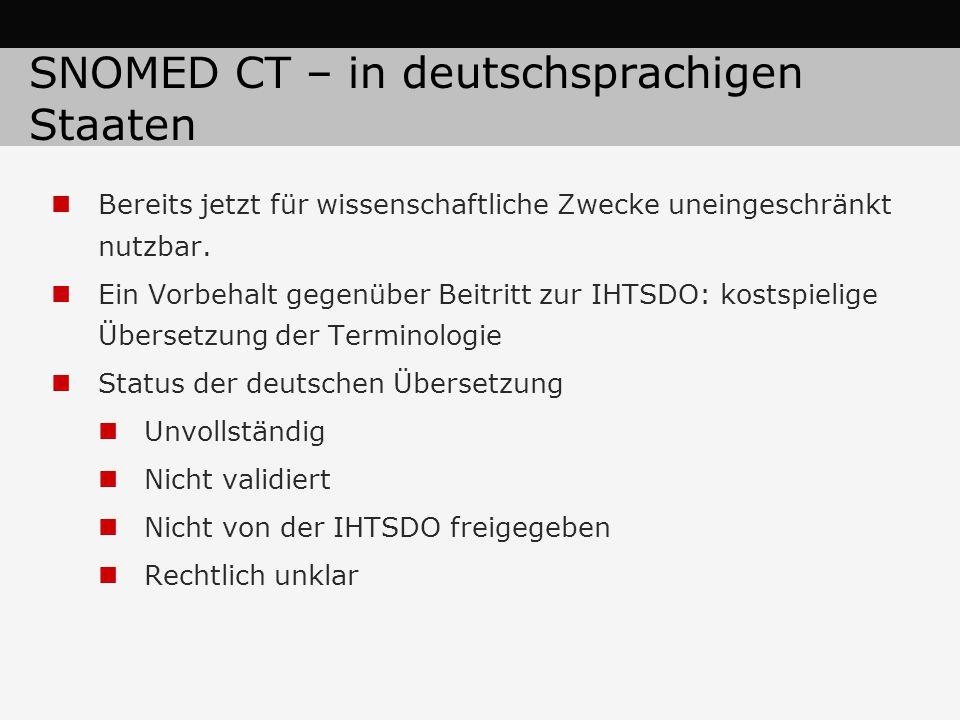 SNOMED CT – in deutschsprachigen Staaten Bereits jetzt für wissenschaftliche Zwecke uneingeschränkt nutzbar.