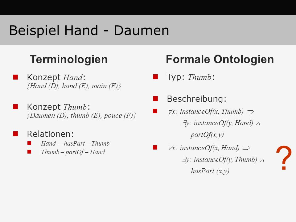 Konzept Hand : {Hand (D), hand (E), main (F)} Konzept Thumb : {Daumen (D), thumb (E), pouce (F)} Relationen: Hand – hasPart – Thumb Thumb – partOf – Hand Typ: Thumb : Beschreibung:  x: instanceOf(x, Thumb)   y: instanceOf(y, Hand)  partOf(x,y)  x: instanceOf(x, Hand)   y: instanceOf(y, Thumb)  hasPart (x,y) .