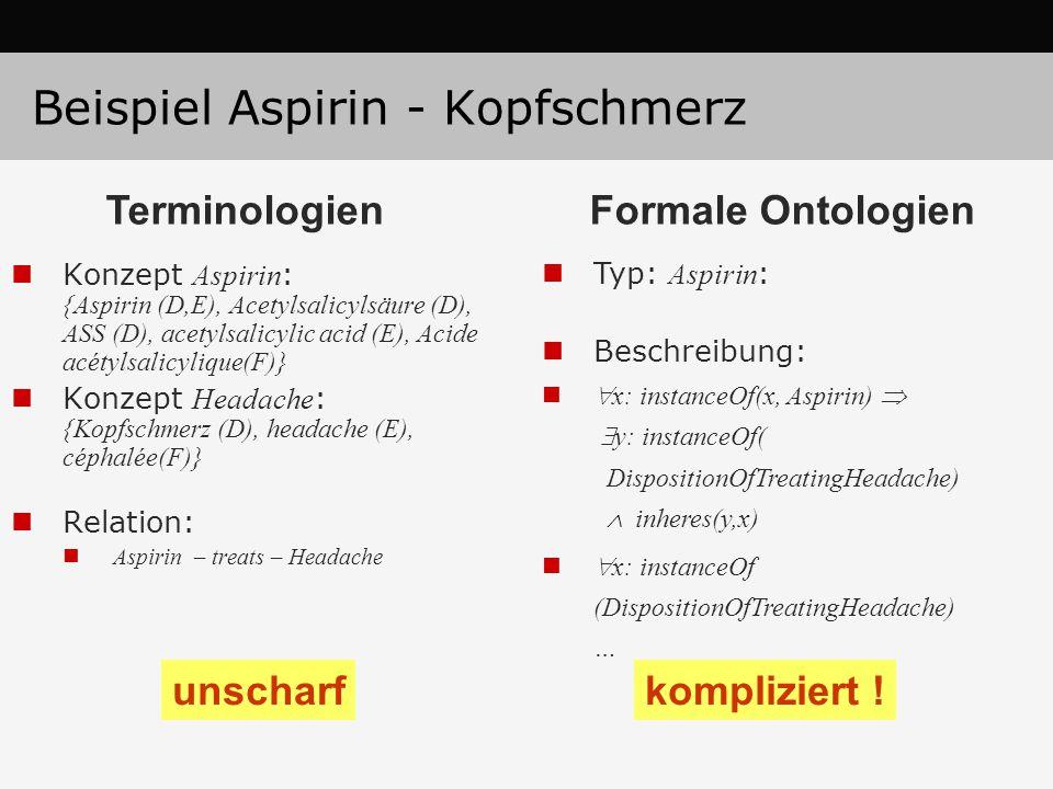 Beispiel Aspirin - Kopfschmerz Konzept Aspirin : {Aspirin (D,E), Acetylsalicylsäure (D), ASS (D), acetylsalicylic acid (E), Acide acétylsalicylique(F)} Konzept Headache : {Kopfschmerz (D), headache (E), céphalée(F)} Relation: Aspirin – treats – Headache Typ: Aspirin : Beschreibung:  x: instanceOf(x, Aspirin)   y: instanceOf( DispositionOfTreatingHeadache)  inheres(y,x)  x: instanceOf (DispositionOfTreatingHeadache) … unscharfkompliziert .