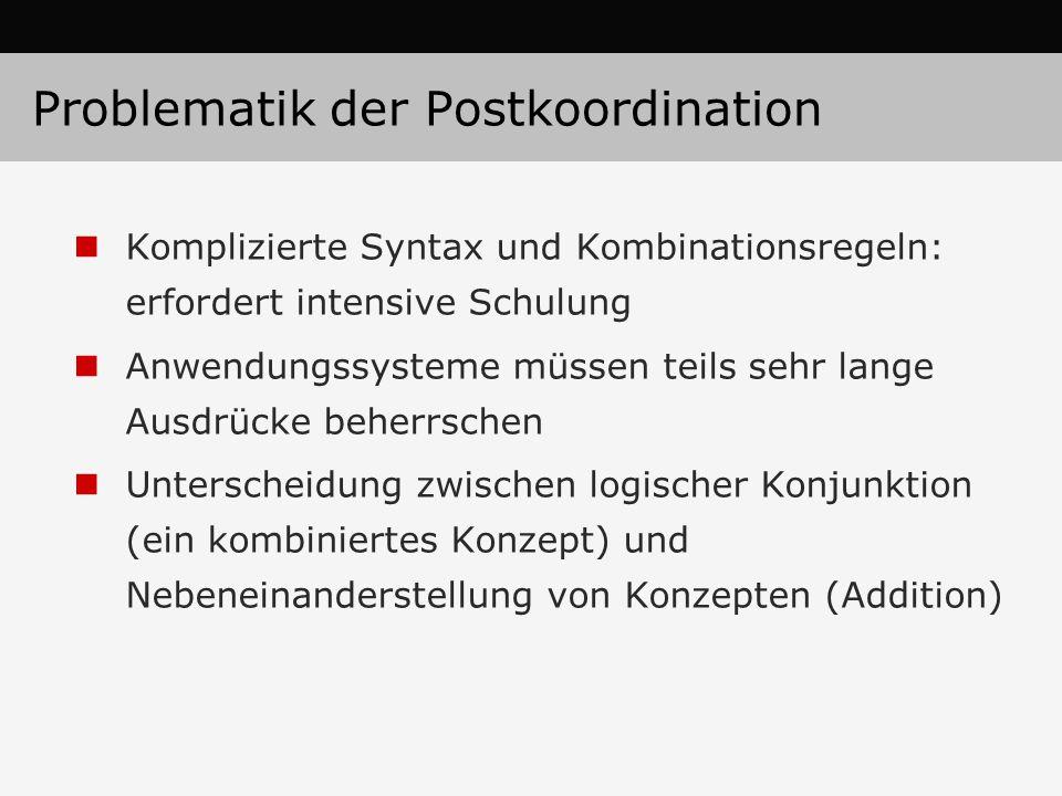 Problematik der Postkoordination Komplizierte Syntax und Kombinationsregeln: erfordert intensive Schulung Anwendungssysteme müssen teils sehr lange Ausdrücke beherrschen Unterscheidung zwischen logischer Konjunktion (ein kombiniertes Konzept) und Nebeneinanderstellung von Konzepten (Addition)