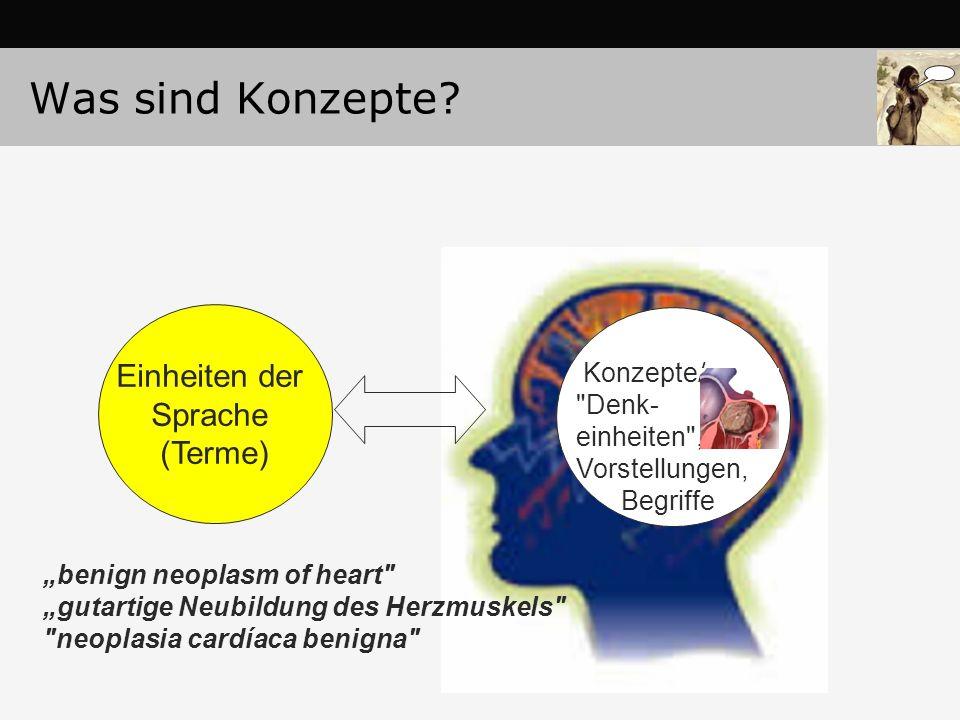 """Einheiten der Sprache (Terme) """"benign neoplasm of heart """"gutartige Neubildung des Herzmuskels neoplasia cardíaca benigna Konzepte/ Denk- einheiten , Vorstellungen, Begriffe Was sind Konzepte?"""