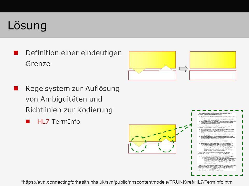 Lösung Definition einer eindeutigen Grenze Regelsystem zur Auflösung von Ambiguitäten und Richtlinien zur Kodierung HL7 TermInfo *https://svn.connectingforhealth.nhs.uk/svn/public/nhscontentmodels/TRUNK/ref/HL7/TermInfo.htm