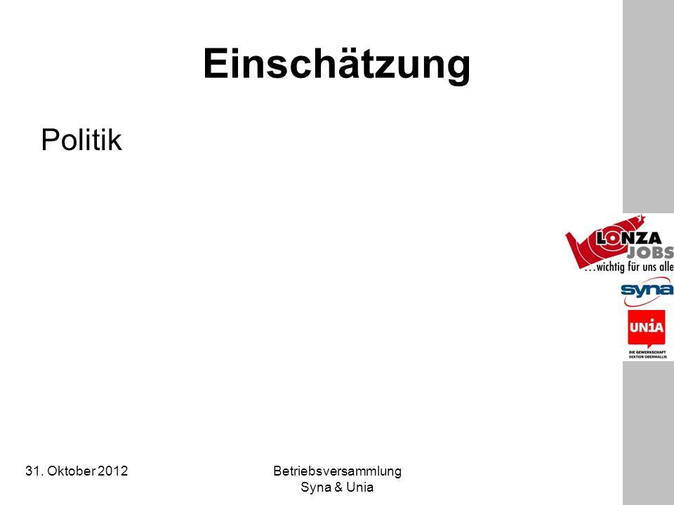 31. Oktober 2012 Betriebsversammlung Syna & Unia Einschätzung Politik