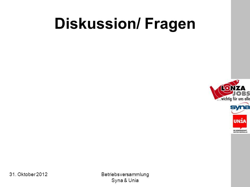 31. Oktober 2012 Betriebsversammlung Syna & Unia Diskussion/ Fragen