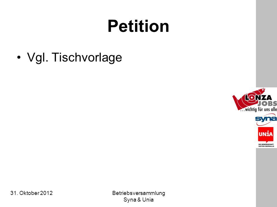 31. Oktober 2012 Betriebsversammlung Syna & Unia Petition Vgl. Tischvorlage