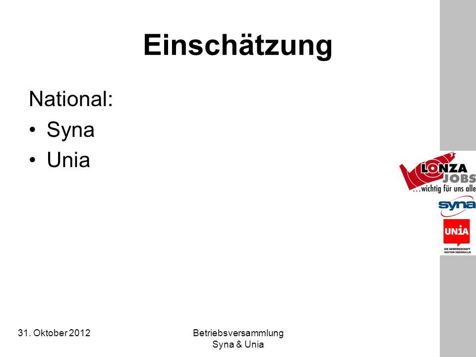 31. Oktober 2012 Betriebsversammlung Syna & Unia Einschätzung National: Syna Unia