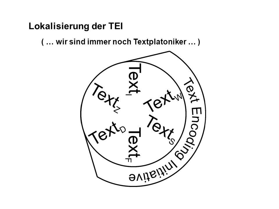 Lokalisierung der TEI ( … wir sind immer noch Textplatoniker … )