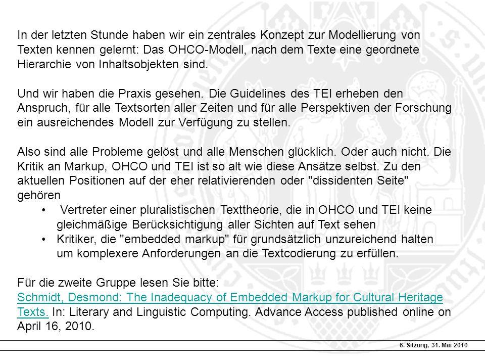 Modellierung von Text … Rekapitulation … Was bedeutet OHCO.