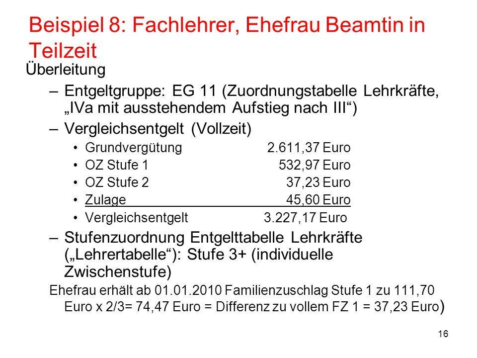 17 Beispiel 9: Erzieherin, Bewährungsaufstieg Erzieherin an Förderschule, BAT Vc, LASt.