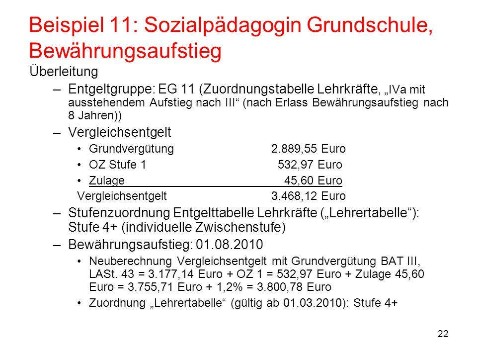 """22 Beispiel 11: Sozialpädagogin Grundschule, Bewährungsaufstieg Überleitung –Entgeltgruppe: EG 11 (Zuordnungstabelle Lehrkräfte, """" IVa mit ausstehende"""