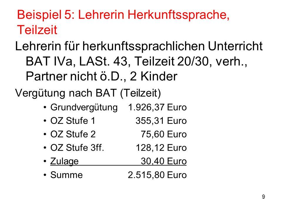 """10 Beispiel 5: Lehrerin Herkunftssprache, Teilzeit Überleitung –Entgeltgruppe: EG 10 (Zuordnungstabelle Lehrkräfte, """"IVa nach Aufstieg aus IVb ) –Vergleichsentgelt (Vollzeit) Grundvergütung2.889,55 Euro OZ Stufe 1 532,97 Euro OZ Stufe 2 113,40 Euro Zulage 45,60 Euro Vergleichsentgelt3.581,52 Euro –Stufenzuordnung Entgelttabelle Lehrkräfte (""""Lehrertabelle ): Stufe 5+ (individuelle Endstufe) –Teilzeitentgelt: 3.581,52 x 20/30= 2.387,68 Euro –Besitzstandszulage 192,18 x 20/30 = 128,12 Euro"""
