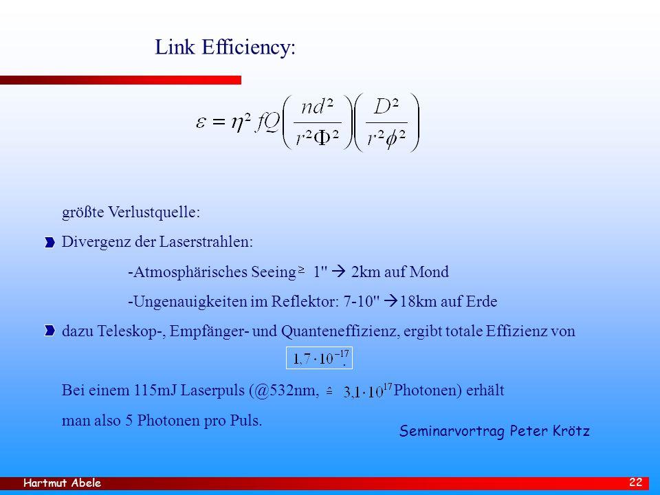 Hartmut Abele 22 Link Efficiency: größte Verlustquelle: Divergenz der Laserstrahlen: -Atmosphärisches Seeing 1  2km auf Mond -Ungenauigkeiten im Reflektor: 7-10  18km auf Erde dazu Teleskop-, Empfänger- und Quanteneffizienz, ergibt totale Effizienz von.