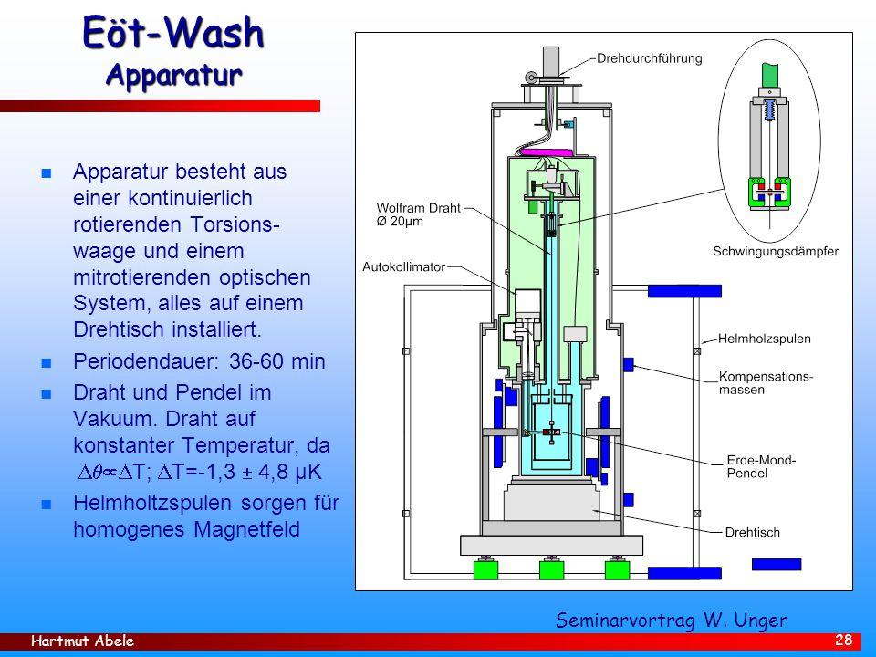 Hartmut Abele 28 Eöt-Wash Apparatur n Apparatur besteht aus einer kontinuierlich rotierenden Torsions- waage und einem mitrotierenden optischen System, alles auf einem Drehtisch installiert.