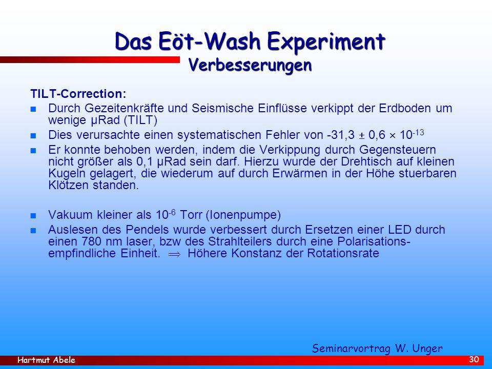Hartmut Abele 30 Das Eöt-Wash Experiment Verbesserungen TILT-Correction: n Durch Gezeitenkräfte und Seismische Einflüsse verkippt der Erdboden um wenige µRad (TILT) n Dies verursachte einen systematischen Fehler von -31,3  0,6  10 -13 n Er konnte behoben werden, indem die Verkippung durch Gegensteuern nicht größer als 0,1 µRad sein darf.