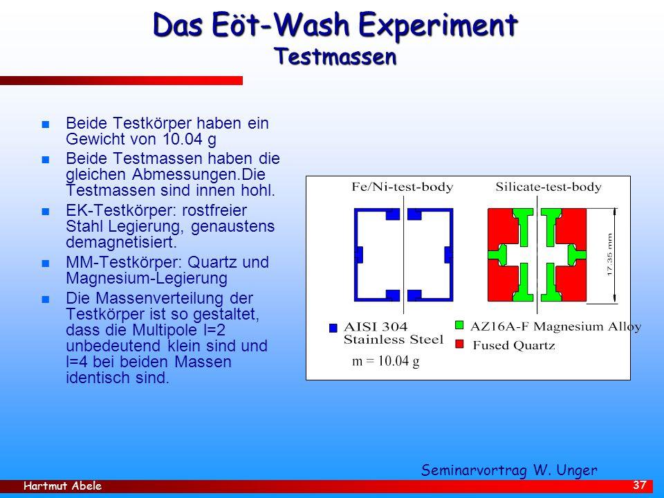 Hartmut Abele 37 Das Eöt-Wash Experiment Testmassen n Beide Testkörper haben ein Gewicht von 10.04 g n Beide Testmassen haben die gleichen Abmessungen.Die Testmassen sind innen hohl.