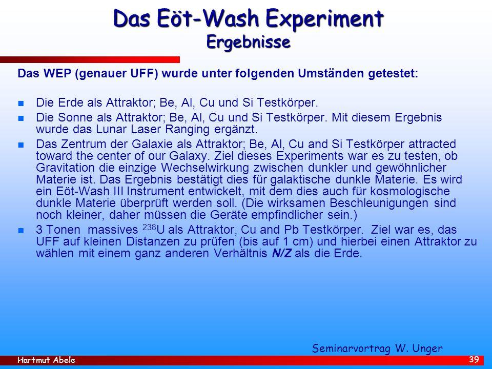 Hartmut Abele 39 Das Eöt-Wash Experiment Ergebnisse Das WEP (genauer UFF) wurde unter folgenden Umständen getestet: n Die Erde als Attraktor; Be, Al, Cu und Si Testkörper.