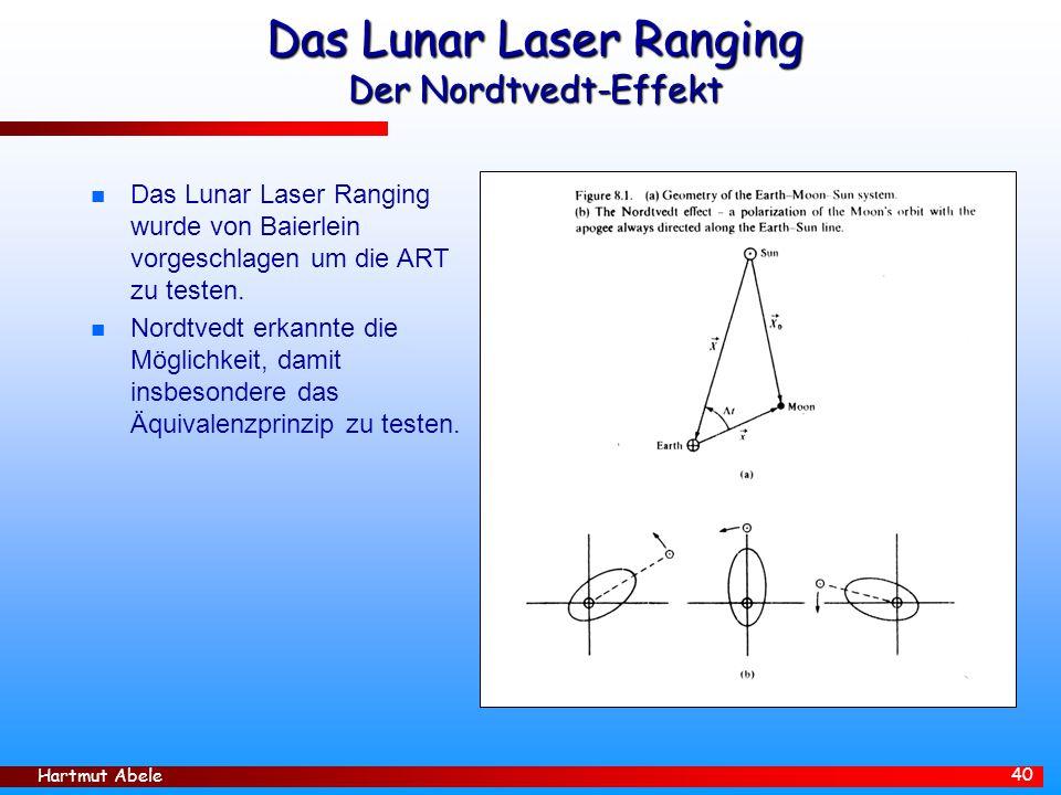Hartmut Abele 40 Das Lunar Laser Ranging Der Nordtvedt-Effekt n Das Lunar Laser Ranging wurde von Baierlein vorgeschlagen um die ART zu testen.