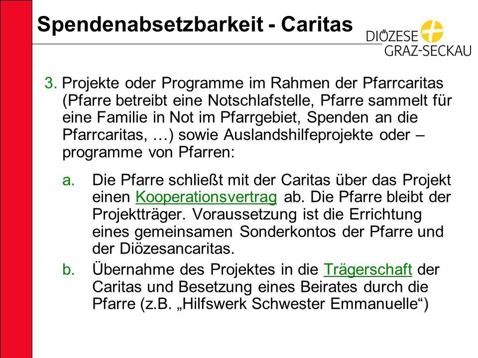 Spendenabsetzbarkeit - Caritas 3.