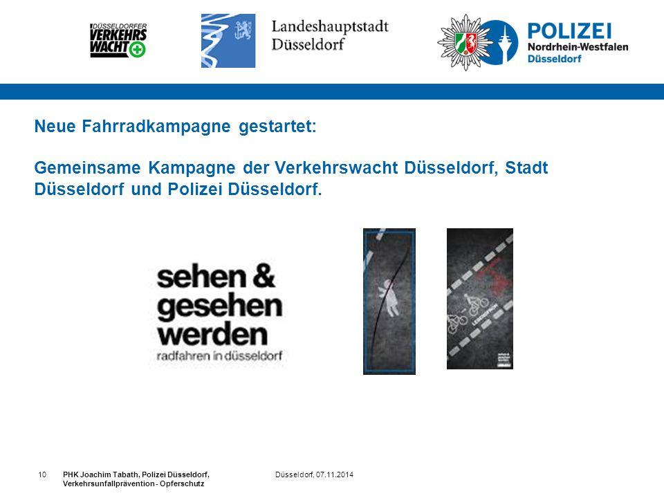 Düsseldorf, 07.11.2014PHK Joachim Tabath, Polizei Düsseldorf, Verkehrsunfallprävention - Opferschutz 10 Neue Fahrradkampagne gestartet: Gemeinsame Kam