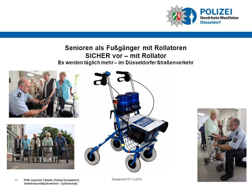 Düsseldorf, 07.11.2014 PHK Joachim Tabath, Polizei Düsseldorf, Verkehrsunfallprävention - Opferschutz 11 Senioren als Fußgänger mit Rollatoren SICHER