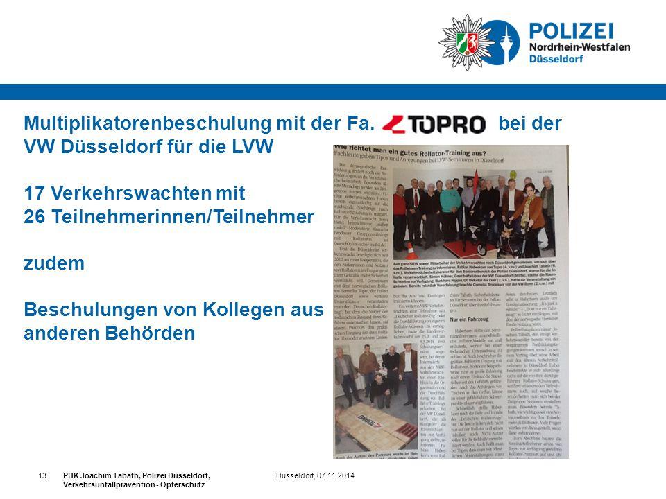 Multiplikatorenbeschulung mit der Fa. TOPRO bei der VW Düsseldorf für die LVW 17 Verkehrswachten mit 26 Teilnehmerinnen/Teilnehmer zudem Beschulungen