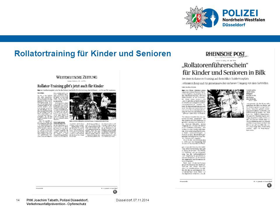 Rollatortraining für Kinder und Senioren Düsseldorf, 07.11.2014PHK Joachim Tabath, Polizei Düsseldorf, Verkehrsunfallprävention - Opferschutz 14