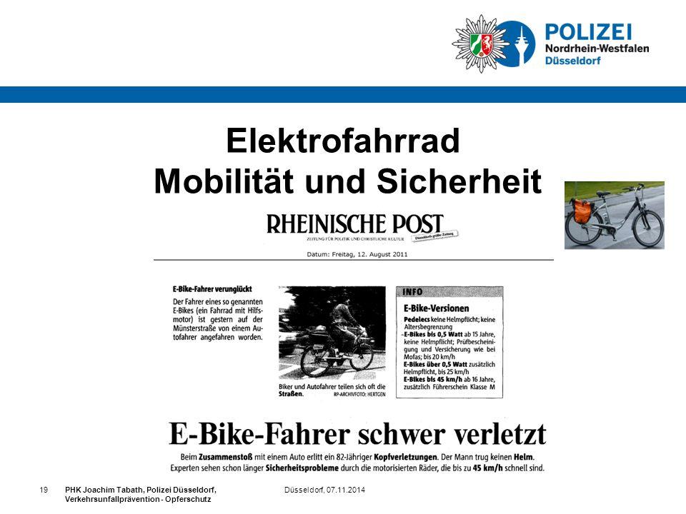 Düsseldorf, 07.11.2014PHK Joachim Tabath, Polizei Düsseldorf, Verkehrsunfallprävention - Opferschutz 19 Elektrofahrrad Mobilität und Sicherheit