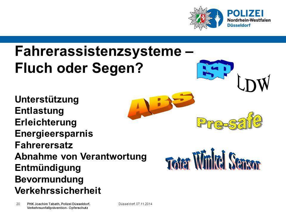 Düsseldorf, 07.11.2014PHK Joachim Tabath, Polizei Düsseldorf, Verkehrsunfallprävention - Opferschutz 20 Fahrerassistenzsysteme – Fluch oder Segen? Unt