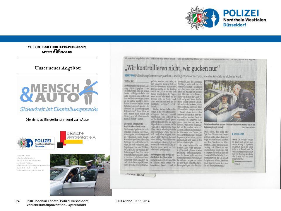 Düsseldorf, 07.11.2014PHK Joachim Tabath, Polizei Düsseldorf, Verkehrsunfallprävention - Opferschutz 24