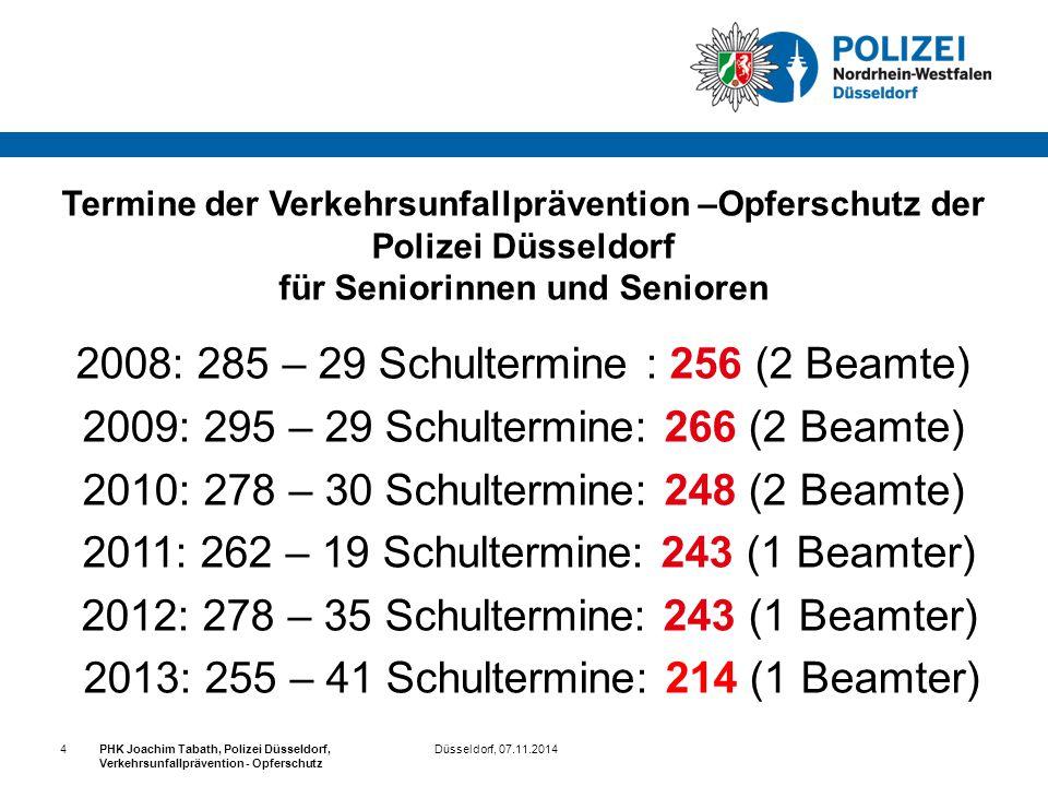 Düsseldorf, 07.11.2014PHK Joachim Tabath, Polizei Düsseldorf, Verkehrsunfallprävention - Opferschutz 4 Termine der Verkehrsunfallprävention –Opferschu