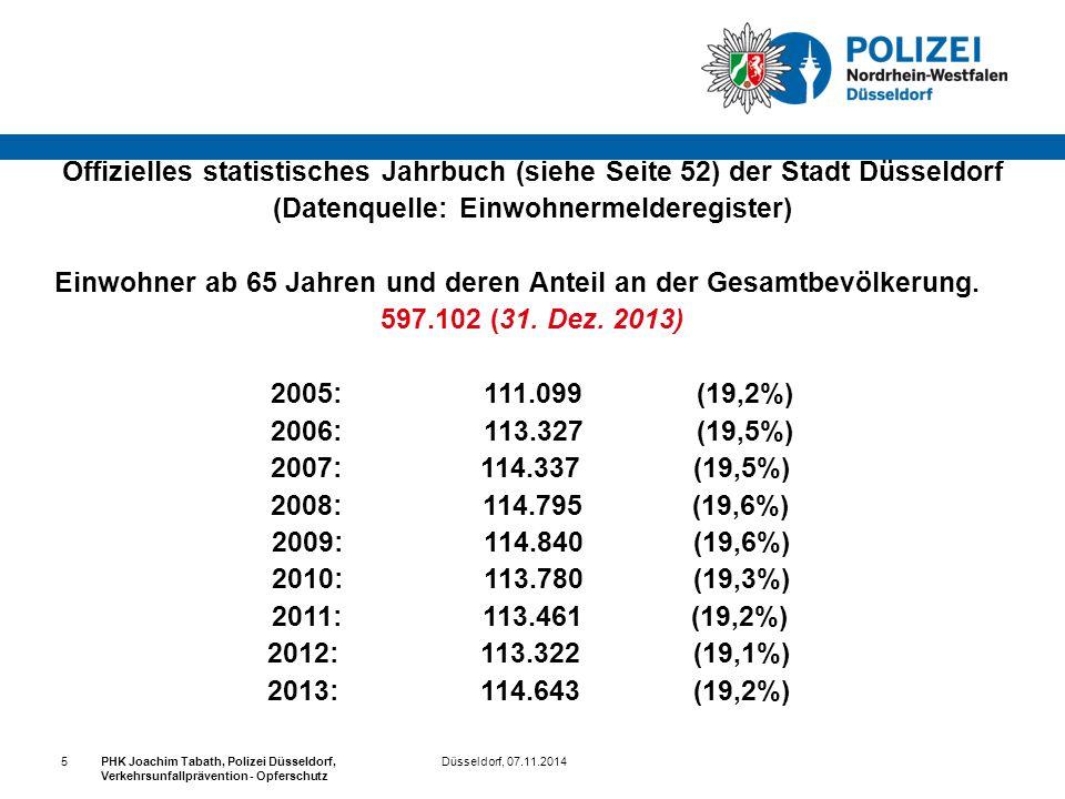 Düsseldorf, 07.11.2014PHK Joachim Tabath, Polizei Düsseldorf, Verkehrsunfallprävention - Opferschutz 5 Offizielles statistisches Jahrbuch (siehe Seite