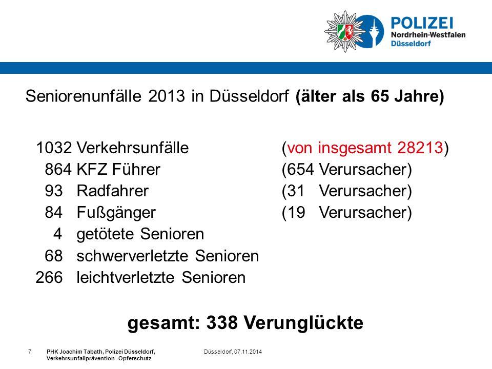 Düsseldorf, 07.11.2014PHK Joachim Tabath, Polizei Düsseldorf, Verkehrsunfallprävention - Opferschutz 7 Seniorenunfälle 2013 in Düsseldorf (älter als 6
