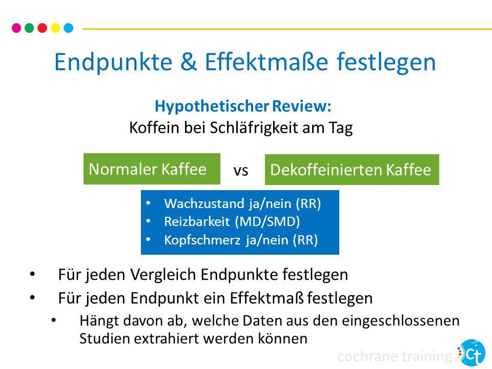 cochrane training Endpunkte & Effektmaße festlegen Für jeden Vergleich Endpunkte festlegen Für jeden Endpunkt ein Effektmaß festlegen Hängt davon ab, welche Daten aus den eingeschlossenen Studien extrahiert werden können Wachzustand ja/nein (RR) Reizbarkeit (MD/SMD) Kopfschmerz ja/nein (RR) Hypothetischer Review: Koffein bei Schläfrigkeit am Tag vs Normaler Kaffee Dekoffeinierten Kaffee