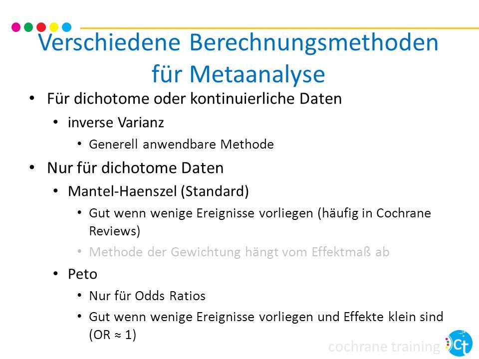 cochrane training Für dichotome oder kontinuierliche Daten inverse Varianz Generell anwendbare Methode Nur für dichotome Daten Mantel-Haenszel (Standa