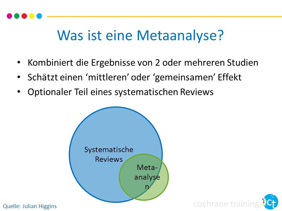 cochrane training Was ist eine Metaanalyse? Kombiniert die Ergebnisse von 2 oder mehreren Studien Schätzt einen 'mittleren' oder 'gemeinsamen' Effekt