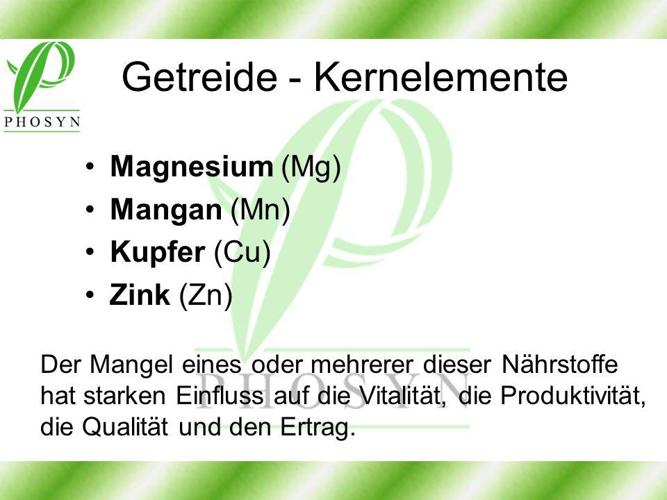 Getreide - Kernelemente Magnesium (Mg) Mangan (Mn) Kupfer (Cu) Zink (Zn) Der Mangel eines oder mehrerer dieser Nährstoffe hat starken Einfluss auf die