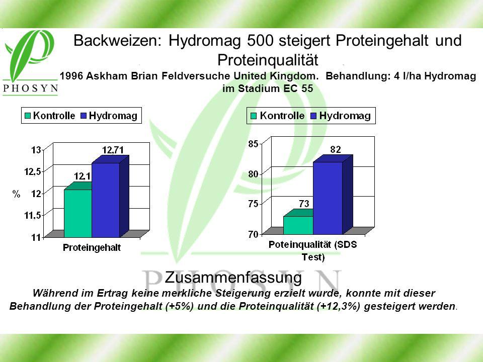 Backweizen: Hydromag 500 steigert Proteingehalt und Proteinqualität 1996 Askham Brian Feldversuche United Kingdom. Behandlung: 4 l/ha Hydromag im Stad