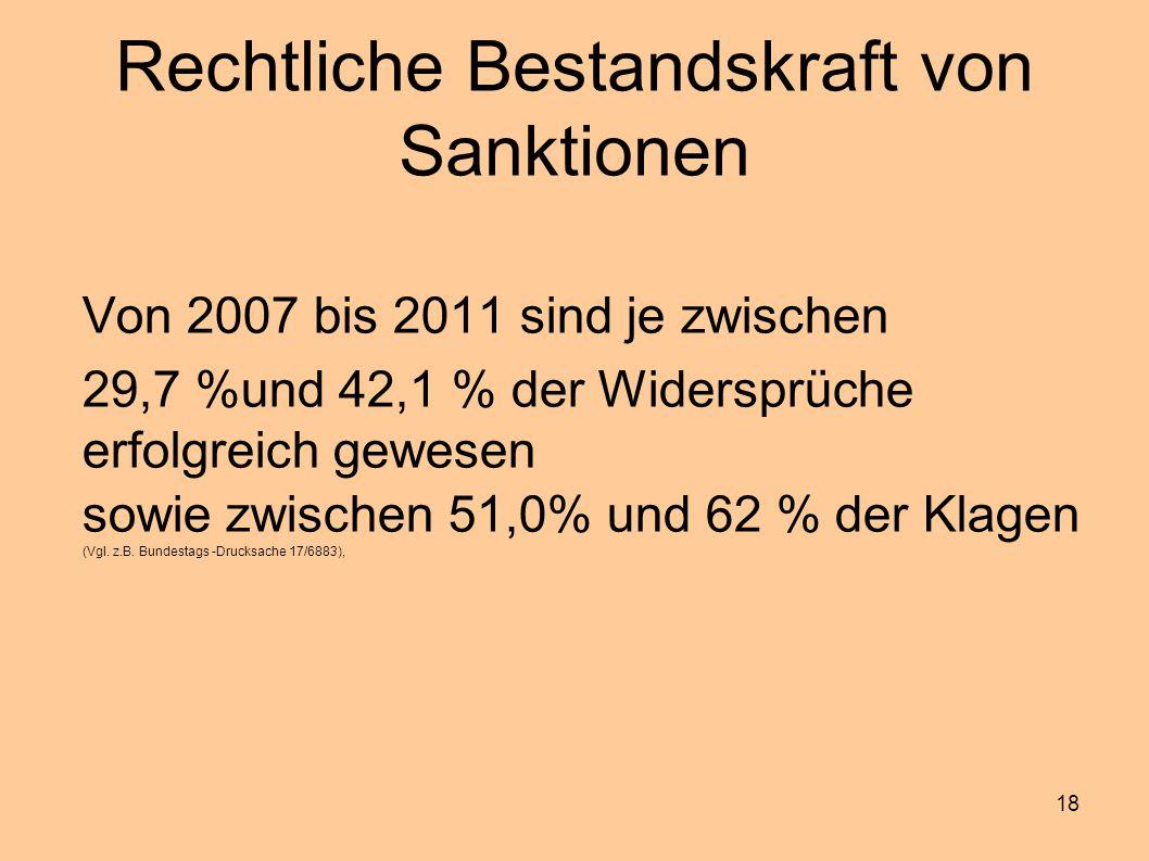 18 Rechtliche Bestandskraft von Sanktionen Von 2007 bis 2011 sind je zwischen 29,7 %und 42,1 % der Widersprüche erfolgreich gewesen sowie zwischen 51,