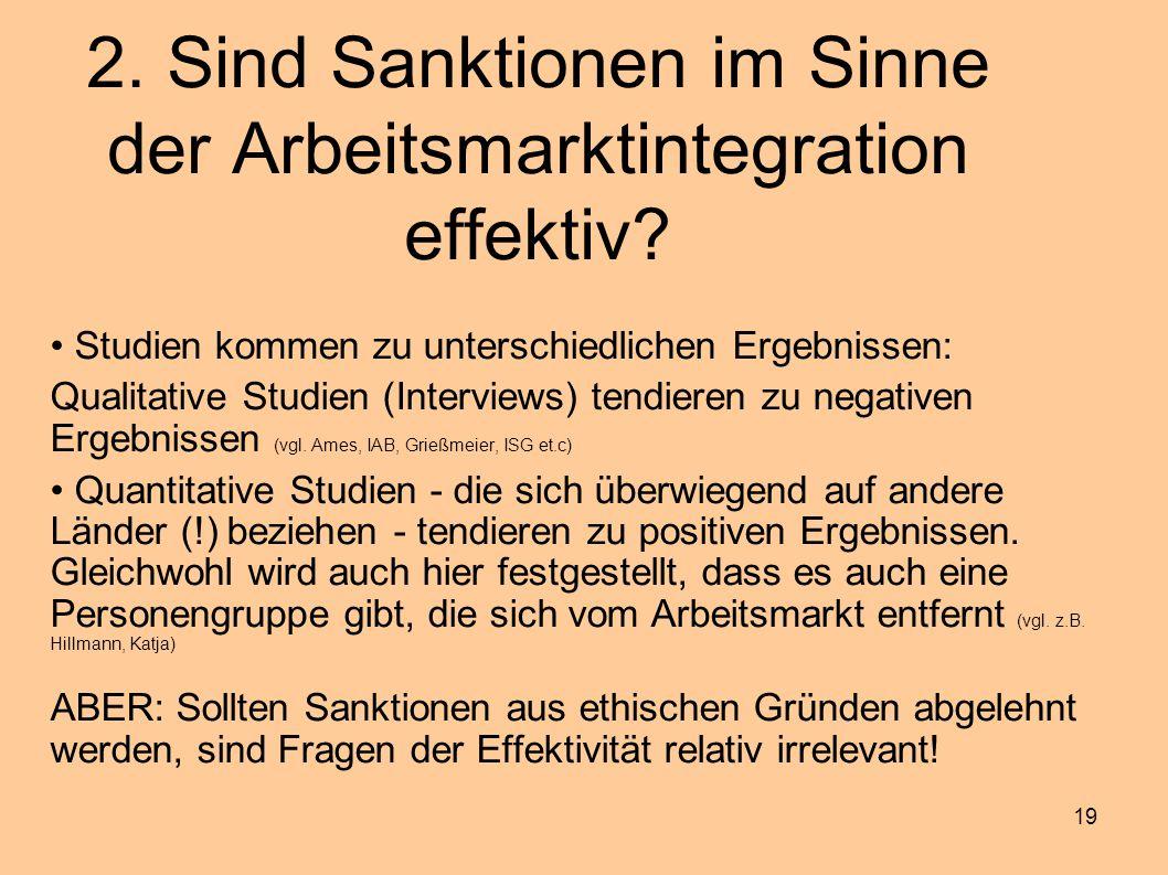 19 2. Sind Sanktionen im Sinne der Arbeitsmarktintegration effektiv? Studien kommen zu unterschiedlichen Ergebnissen: Qualitative Studien (Interviews)