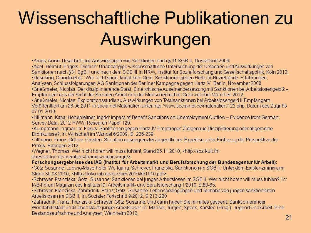 21 Wissenschaftliche Publikationen zu Auswirkungen Ames, Anne: Ursachen und Auswirkungen von Sanktionen nach § 31 SGB II, Düsseldorf 2009. Apel, Helmu