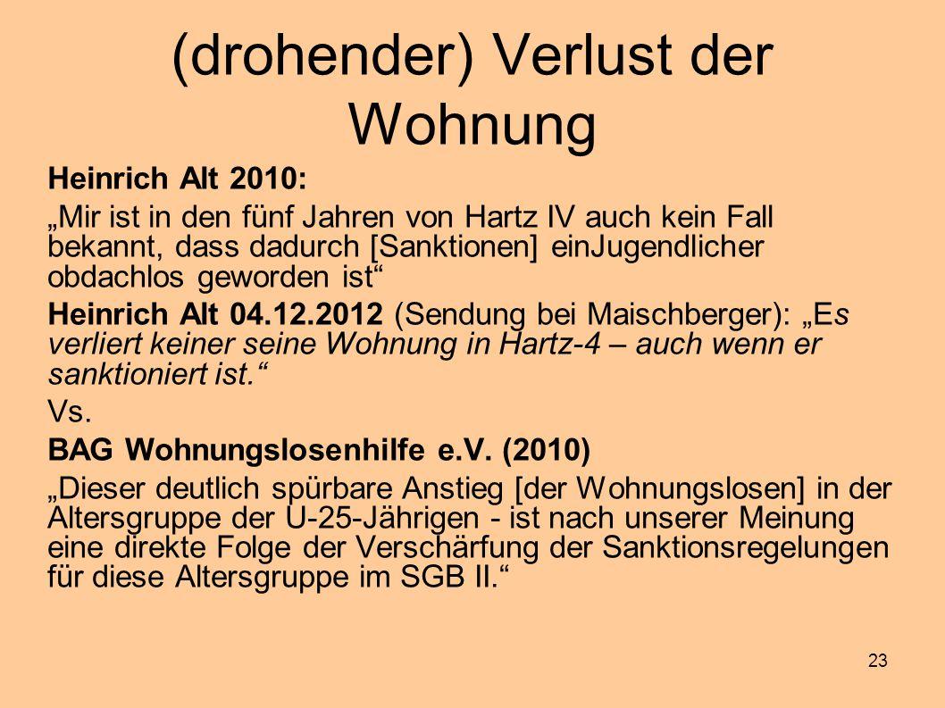 """23 (drohender) Verlust der Wohnung Heinrich Alt 2010: """"Mir ist in den fünf Jahren von Hartz IV auch kein Fall bekannt, dass dadurch [Sanktionen] einJu"""
