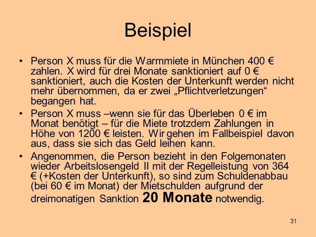 31 Beispiel Person X muss für die Warmmiete in München 400 € zahlen. X wird für drei Monate sanktioniert auf 0 € sanktioniert, auch die Kosten der Unt