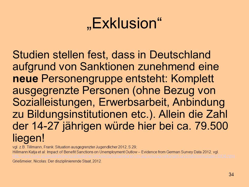 """34 """"Exklusion"""" Studien stellen fest, dass in Deutschland aufgrund von Sanktionen zunehmend eine neue Personengruppe entsteht: Komplett ausgegrenzte Pe"""